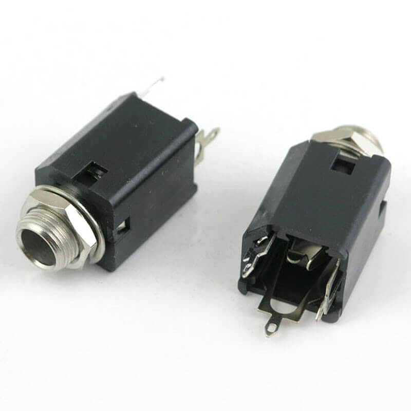 E57 Black Plastic 1/4 Inch Mono Jack Socket