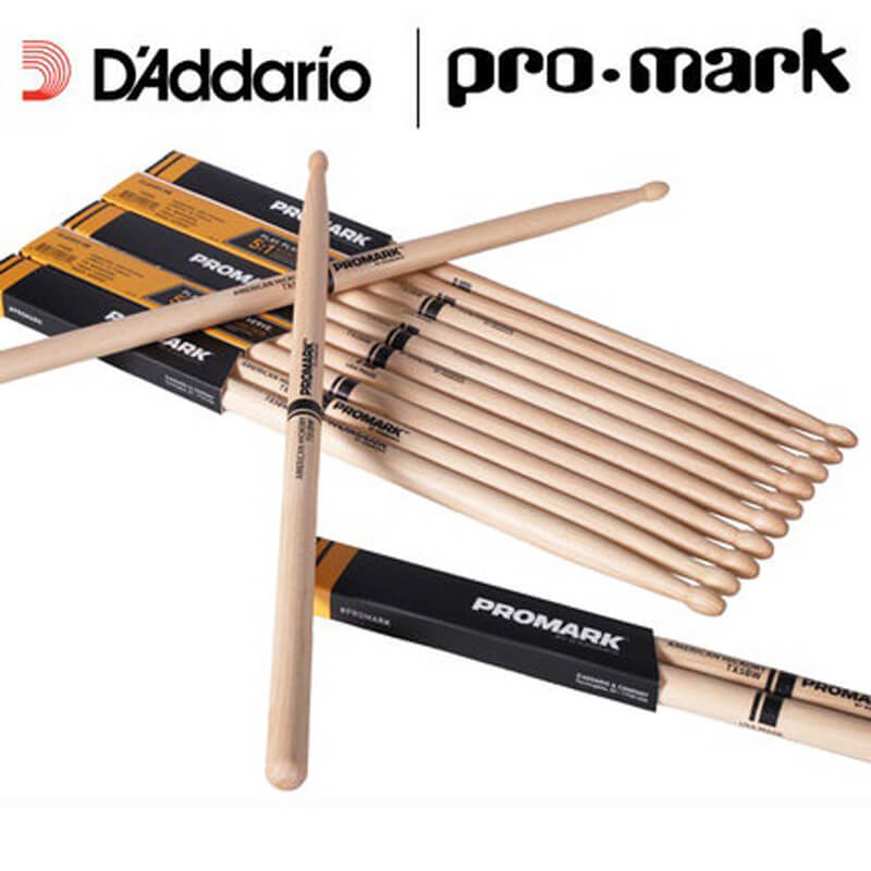 DR2 Pro-Mark American Hickory TX5AW Tipped 5A Medium Drum Sticks
