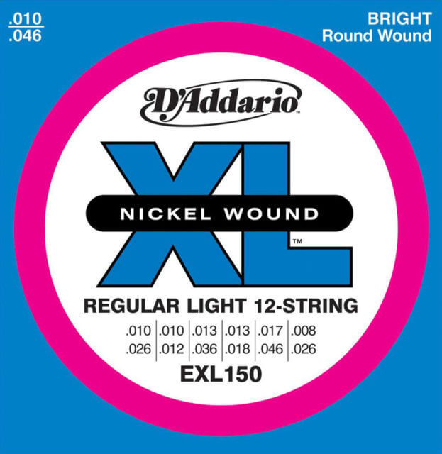 STR10 D'Addario EXL150 Regular Light 12-String Guitar strings