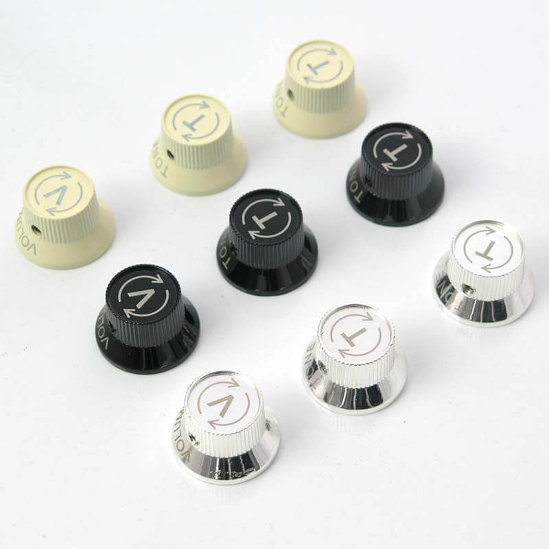 K30 3 x Metal bell top hat guitar strat knobs for 6mm shafts