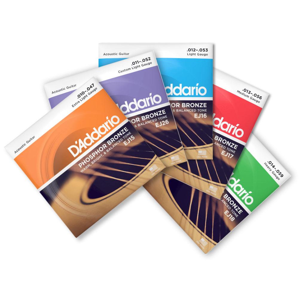 D'Addario acoustic Phosphor Bronze guitar strings 10's 11's 12′ 13's 14's