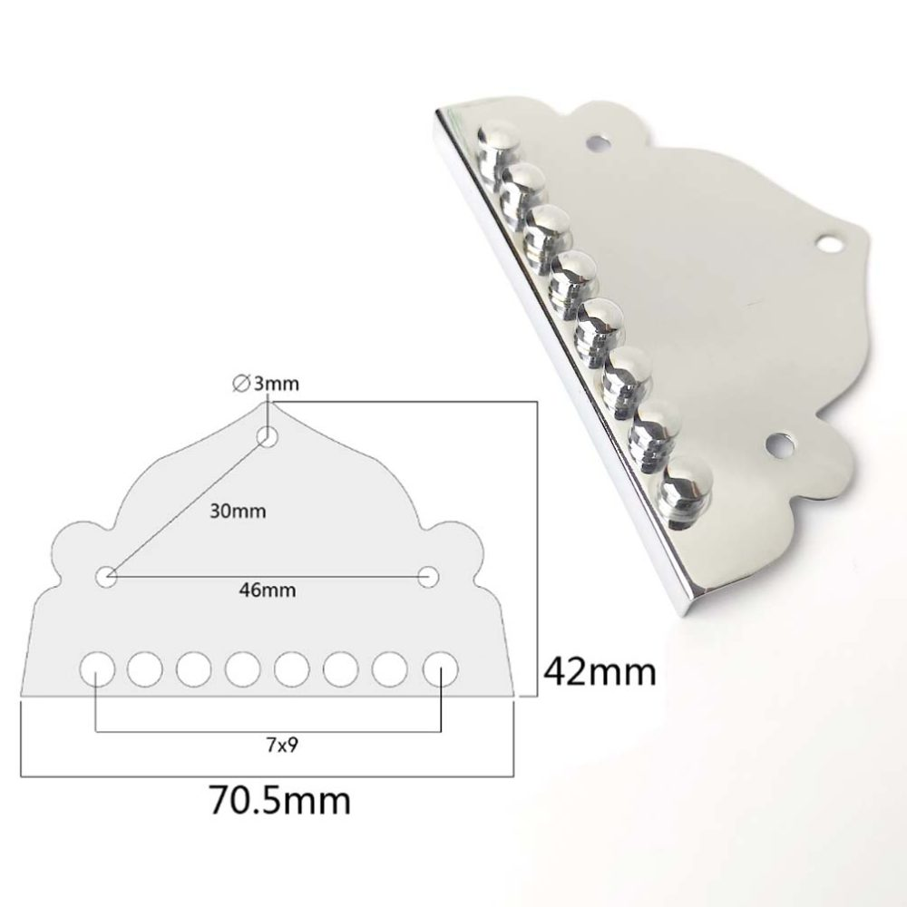T16 Large Mandolin cigar box tailpiece bridge top mounted plate, stainless base